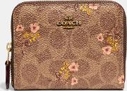 Small Zip Around Wallet In Signature Canvas With Floral Print
