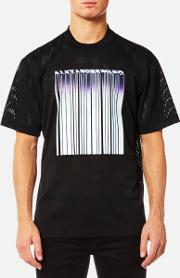 Men's Athletic Mesh T Shirt With Purple Chrome Barcode Black M Black