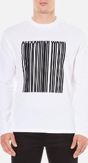 Men's Barcode Logo Long Sleeve T Shirt White S White