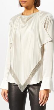 Women's Blouse With Ball Chain Fringe Scarf