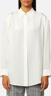 Women's Button Down Shirt With Off The Shoulder Button Detail Ivory