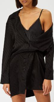 Women's Shirt Dress With Exposed Lace Cami