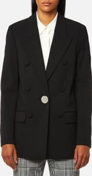 Women's Single Breasted Peaked Lapel Jacket With Leather Sleeve