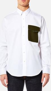 men's contrast pocket large fit shirt white xleu 4216.5 inches white