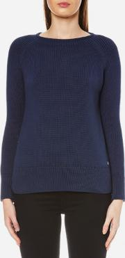 Women's Lowmoore Knitted Jumper French Navy Uk 12 Blue