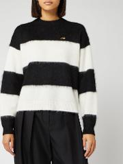 Women's Striped Mohair Cropped Jumper