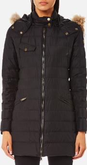 Women's Melcombe Long Quilted Coat With Fur Hood Black Eu 42uk 10 Black