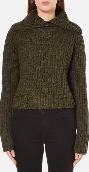 Women's Fold Over Collar Cropped Jumper Khaki