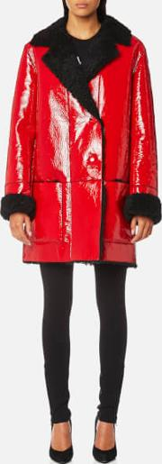 Women's Patent Shearling Hip Length Coat
