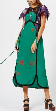 Women's Lace Embroidered Dress Emerald