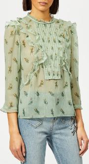 Women's Scribble Floral Print Ruffle Top