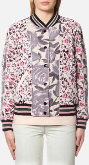 Women's Reversible Satin Varsity Jacket Shell Multi 6uk 10 Pink