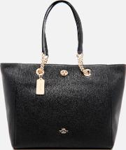 Women's Turnlock Chain Tote Bag Black