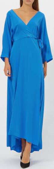 Women's Long Sleeve Floor Length Wrap Dress Cobalt Us