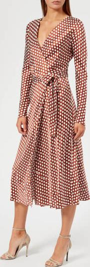Women's Long Sleeve Midi Woven Wrap Dress Baker Dot Small Sienna Us