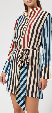 Women's Long Sleeve Shirt Dress Carrington Stripe Pacific