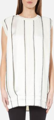 Women's Sleeveless Reversible Panelled Tunic With Drawcord And Exposed Label Gesso