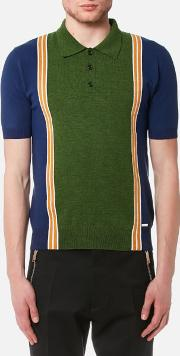 Men's 3 Button Striped Knitted Polo Shirt