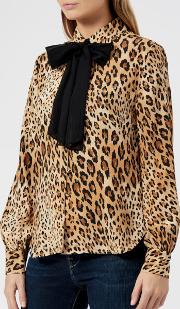 Women's Pussy Bow Blouse Camel