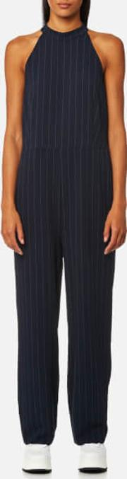 Women's Clark Pinstripe Jumpsuit Total Eclipse Eu 38uk 10 Blue