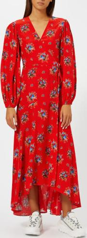 Women's Kochhar Print Long Dress Fiery