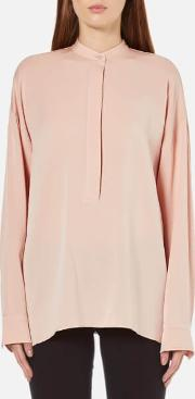 Women's Back Tie Silk Blouse Blush