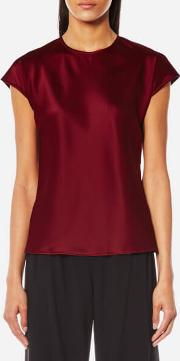 Women's Cap Sleeve Fluid Top Ruby
