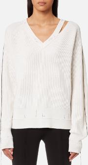 Women's Distressed Wool Jumper Ivory