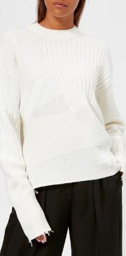 Women's Military Grunge Knit Jumper Ivory