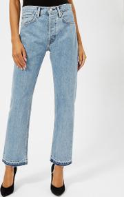 Women's New Crop Straight Leg Jeans Speckled Marble