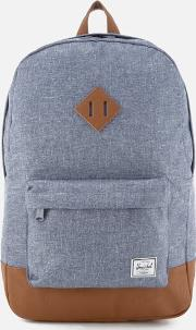 . Heritage Backpack Dark Chambray Crosshatchtan Synthetic Leather