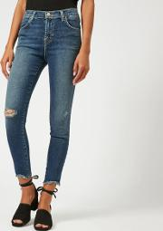 Women's Alana High Rise Skinny Cropped Jeans With Distress Persuade