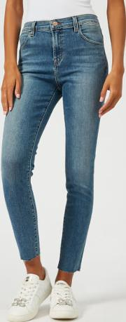 Women's Alana High Rise Skinny Cropped Jeans With Raw Hem Delphi
