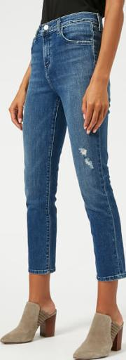 Women's Ruby High Rise Cropped Jeans With Distress Mystic