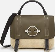 Women's Disc Satchel With Shearling Panel