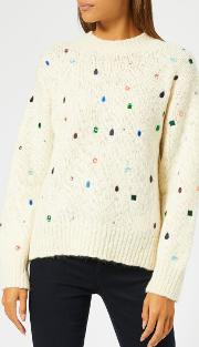 Women's Embroidered Knit Jumper With Gems
