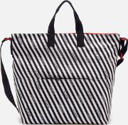 Women's Stripe Canvas Romy Tote Bag Chalkredblack