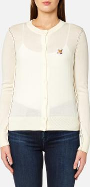 women's merino fox patch cardigan ecru l cream
