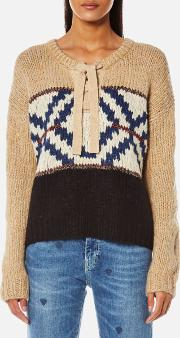 Women's Jacquard Knitted Jumper Combo A L Cream