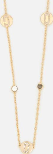 women's double j pave long necklace gold