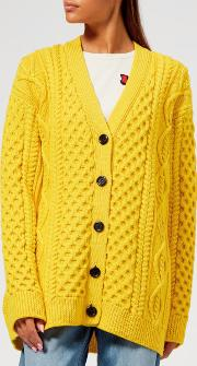 Women's Long Sleeve Cable Cardigan