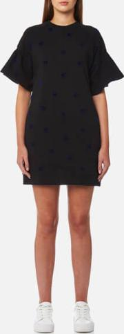 women's bubble sleeve swallow dress blackcarbon navy flock xs black