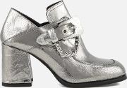 women's leah mocassin heeled shoes silver uk 4 silver
