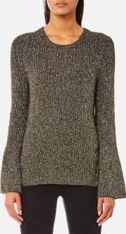 Women's Metallic Bell Sleeve Crew Neck Jumper Ivy