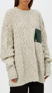 Women's Gauge Oversized Cable Knitted Jumper With Pocket