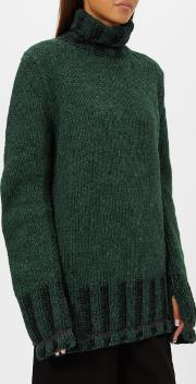Women's Polo Neck Knitted Jumper Greenblack