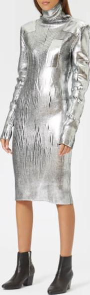 Women's Silver Knitted Dress With High Neck