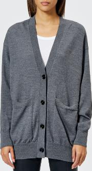 Women's Wool Cardigan With Elbow Patches