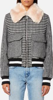 women's check bomber jacket with fur collar black it 42uk 10 black