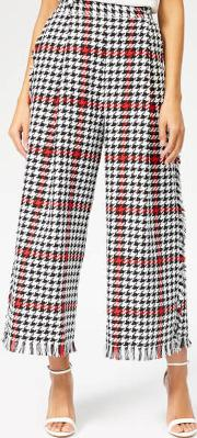 Women's Jacquard Dog Tooth Trousers
